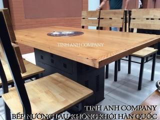 Bàn gỗ thông chân sắt kiểu Hàn Quốc